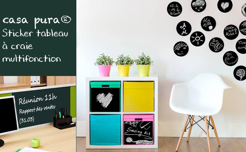 Sticker tableau noir casa pura multiusage en noir ou vert en