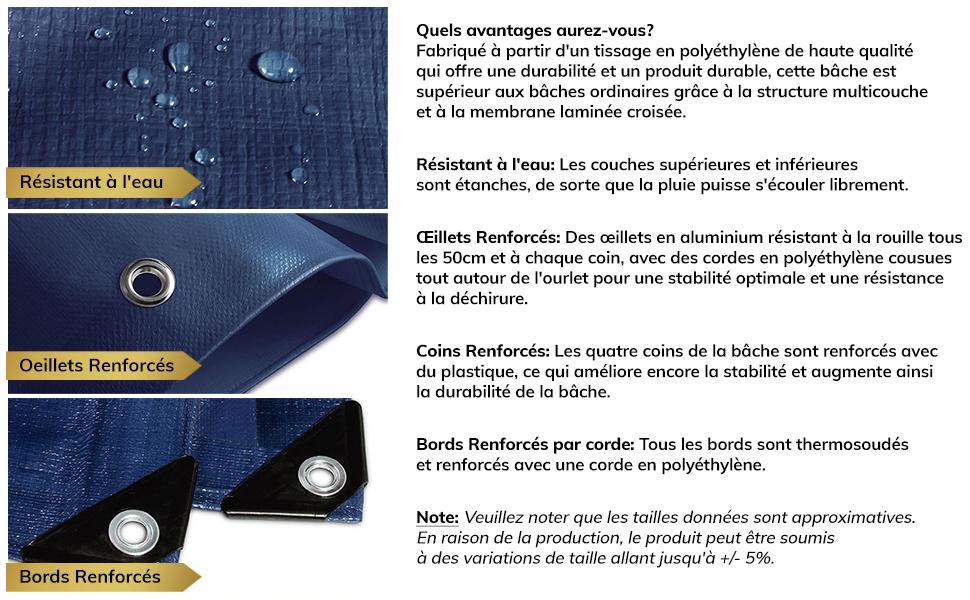 4x6m Bache /étanche /& r/ésistante /à leau et UV Bache de protection ext/érieur /& int/érieur Bleu//Orange Epaisse densit/é 140g//m/² Bache imperm/éable etm/® avec oeillet env