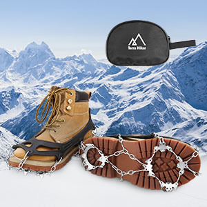 Rakaraka Crampons pour Chaussures Antid/érapant avec 10 Clous /à Neige Grips la Chasse et la Marche en Hiver,Protection Antiglisse-Unisexe Les Randonn/ées