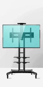 TS1881 Support TV sur pied à roulettes pour des téléviseurs de 55 à 80 pouces Noir