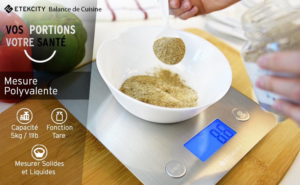 Etekcity Balance de Cuisine Electronique 5 kg de Haute Qualité, 30 ...