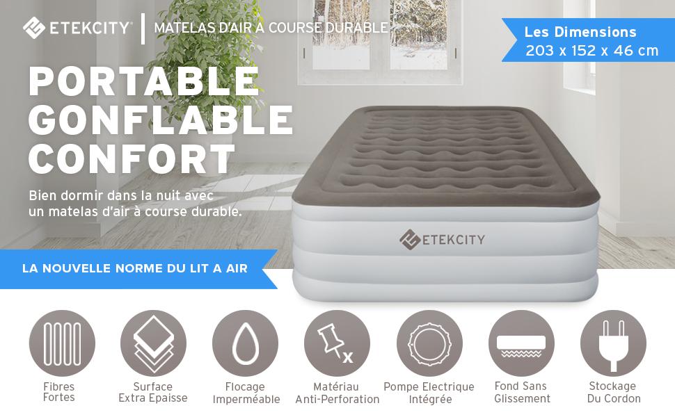 Etekcity Matelas Gonflable 2 Personnes Premium Lit Dappoint