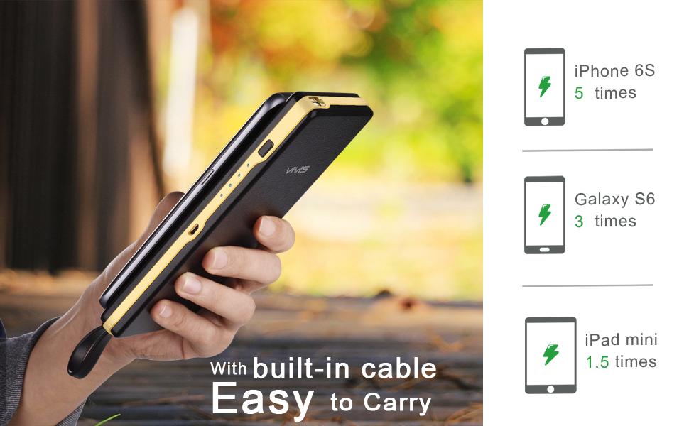 VIVIS Batterie Externe 15000mAh Chargeur Portable avec Câble Micro USB Intégré et Support de