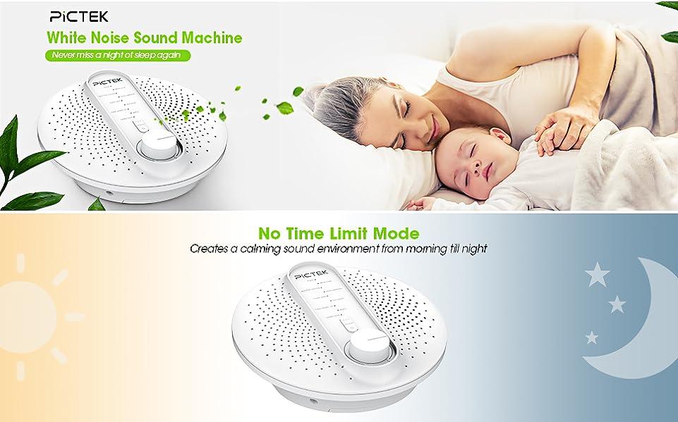 appareil de th rapie sonore bruit blanc pictek appareil de sommeil bruit machine avec 24 sons. Black Bedroom Furniture Sets. Home Design Ideas