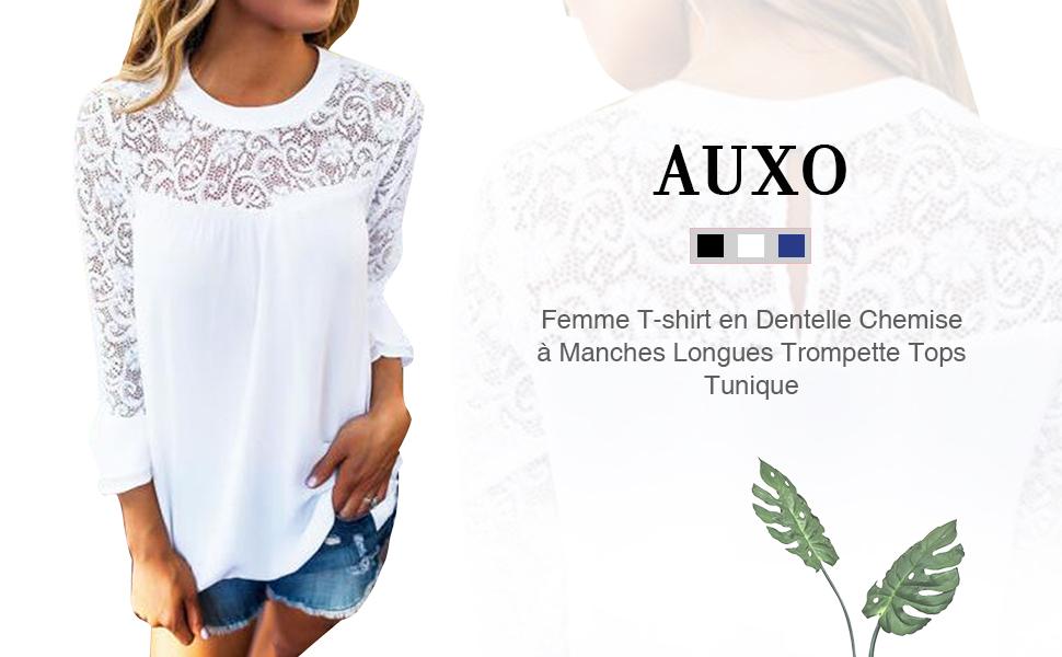 Auxo Femme Dentelle Chemise /à Manches Longues Trompette Pli/é Chic T-Shirt D/écontract/é Top Blouse Printemps