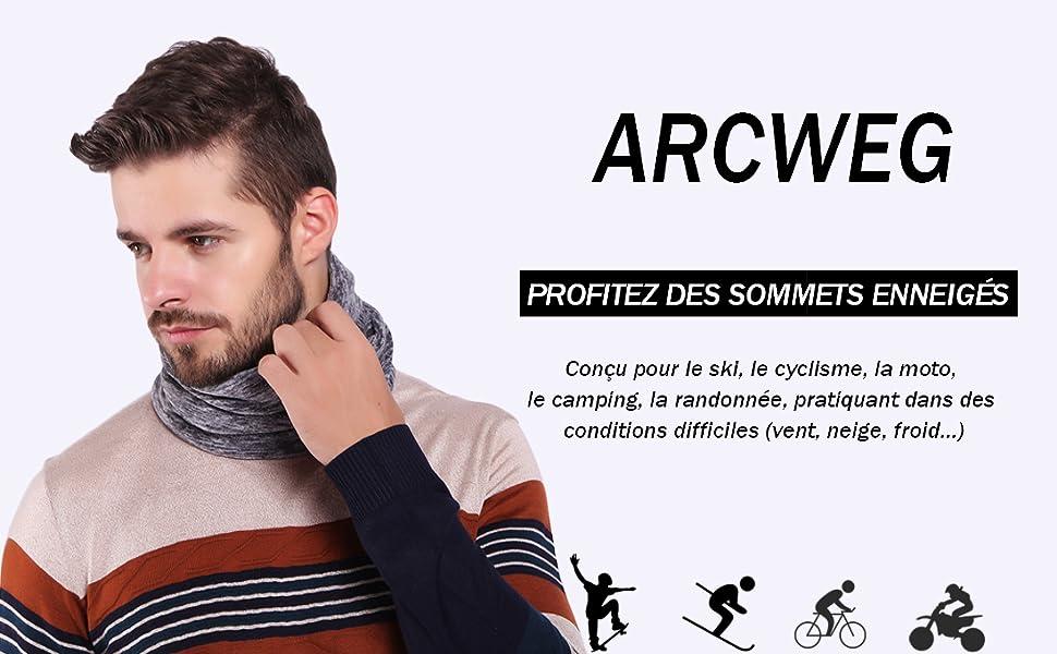 Arcweg Cache Cou Tubulaire dhiver 3-en-1 Multi-Usage Unisexe Utra-Douce avec Cordon de Serrage Cache-Col /Élastique Tour de Cou Cache Nez pour Ski Course Moto V/élo