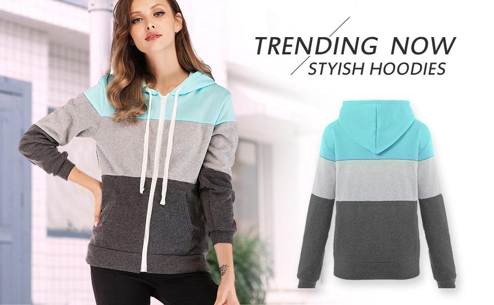 Femmes Cardigans Casual Hoodie Fermeture Éclair Sweatshirt Manches longues