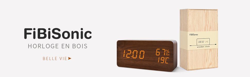 FIBISONIC Horloge Bois Réveil Matin Alarm Clock Horloge LED Réveil Digital avec Affichage Numérique de TempératureHumiditéCalendrier, Réveil Digital