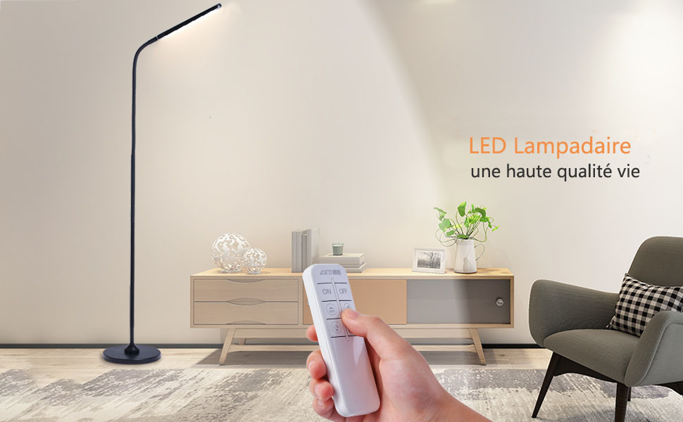 Lampadaire Tactile, Lampadaire sur Pied de Salon 12W 1100lm Lampadaire LED 12W pour Protection des Yeux 5 Températures de Couleur et 5 Luminosité