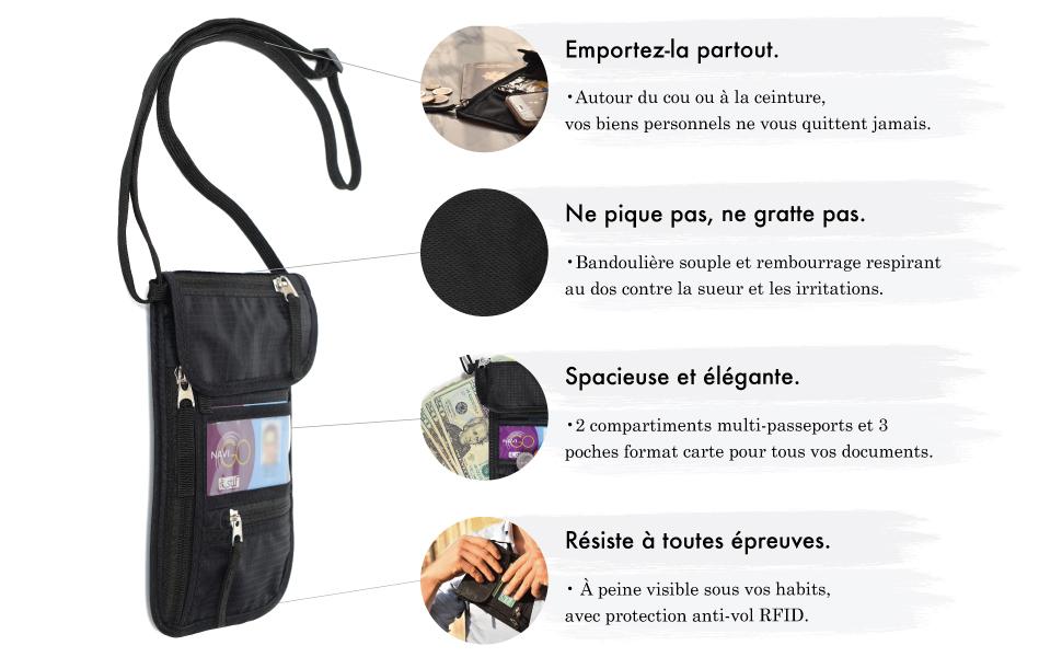 cartes cl/és et passeport avec sangle de cou r/églable Eono by Pochette Voyage Tour de Cou avec Multi-Poches poche de s/écurit/é cach/ée RFID pour argent