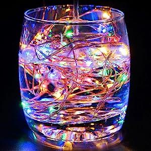 Salcar Guirlande Lumineuse Pile Ext/érieure 6M 30 LED Guirlande Lumineuse Lanterne avec 2 Modes Blanc Chaud Imperm/éable Batterie /& LED Decorative Id/éal