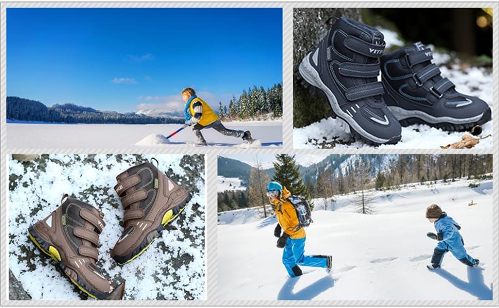 1e847dd60d7d0 Chaussures en Coton pour Enfants Bottes de Neige d hiver Chaussures de  randonnée Garçon