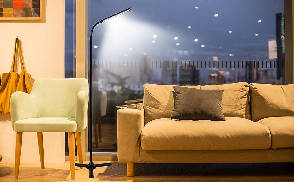Lampadaire sur pied accewit lampe sur pied pour salon 12w dimmable