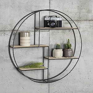 Home Living rond métal etagere murale avec 4/' x 4/' Cadre