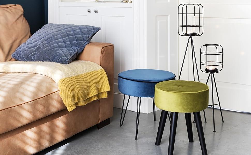 LIFA LIVING Tabouret Salon Design | Petit Tabouret en Bois ...