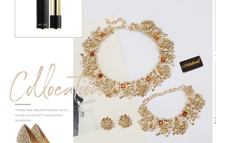 8a20c210e080 Statement Collier Bracelet Ensemble de Boucles d oreilles ...