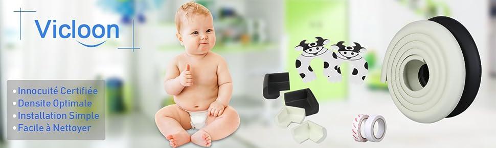 Vicloon Protection d'Angles et Rebords pour Bébés, 2M * 2 Set Protection Mousse Sécurité Rouleau de Mousse Antichoc pour Bébé sur Coins de Murs,des Meubles,Bords de Table