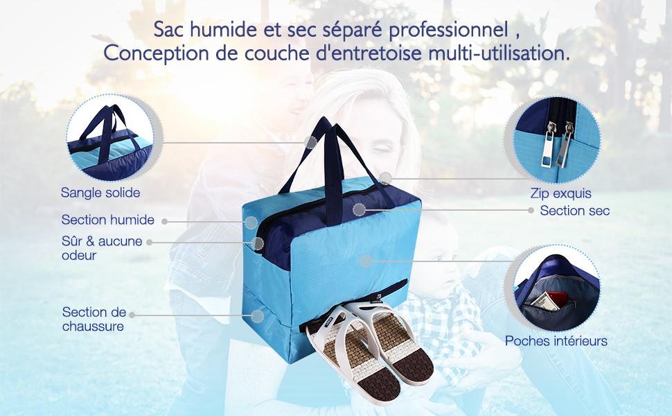 953b196982 Multifonction, peut être utilisé comme sac à cosmétiques, sac à main pour  sac de sport pour plage, gym, spa.climing, pêche, natation et autres  activités de ...