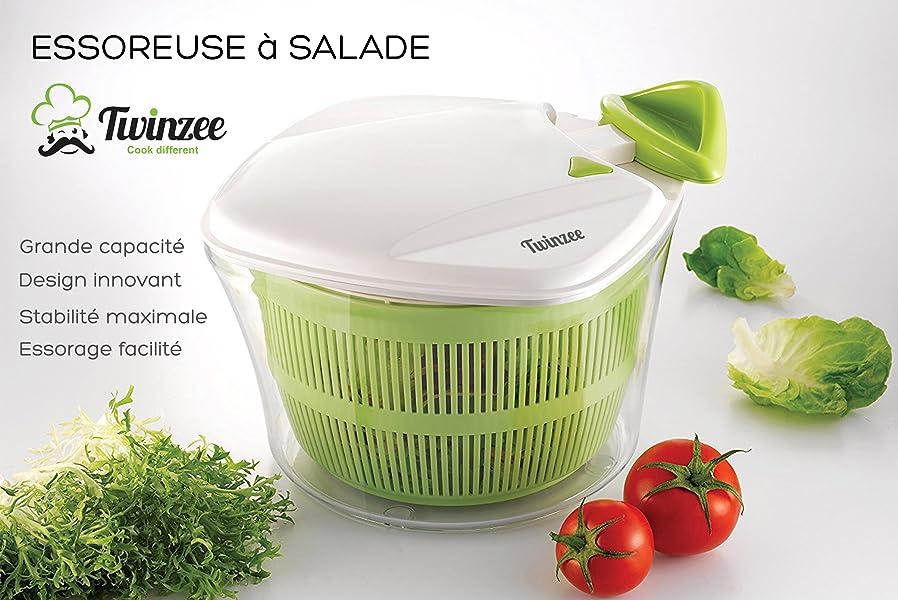 essoreuse salade et l gumes grande capacit 5l. Black Bedroom Furniture Sets. Home Design Ideas