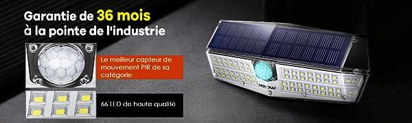 LITOM 【Nouvelle Version Lampe Solaire Ext/érieure 30 LED Projecteur /à Angle R/églable sans Fil avec D/étecteur de Mouvement Etanche IP65 en 3 Modes d/éclairage Spot Murale pour S/écurit/é /éclairage