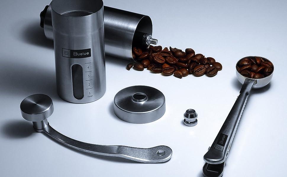 Moulin à Café Manuel v2.0 | En Acier Brossé Inoxydable avec Meule Ajustable en Céramique