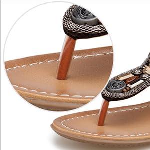 visionreast Sandales Boh/ême Flip-Flop Chaussure de Rivet Sandale /à Talon Plates Taille EU35-EU41