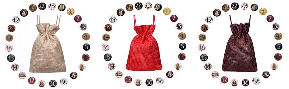 Lot de 24 sacs de calendrier de lAvent /à faire soi-m/ême avec cordon de serrage r/éutilisable compte /à rebours /à suspendre calendrier de lAvent en tissu avec cordon de serrage avec autocollants.