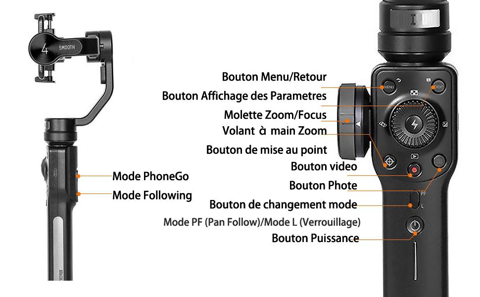 ZHIYUN Smooth 4 Smartphone Gimbal Stabilisateur 3 Axes Handheld Stabilisateur Jusqu'à 210g