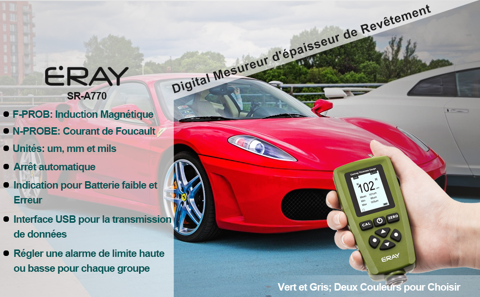 Vert Mallette et Batterie Inclus ERAY Num/érique Mesureur d/épaisseur de Rev/êtement de Peinture de Voiture Avec Ecran LCD R/étro-/éclair/é