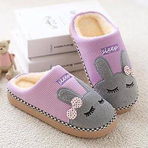uirend Chaussures Chaussons Femme Automne Hiver Pantoufles Coton Peluche Chaussons Doublure Int/érieure Douce Mules Femme Accueil Slippers Chaussures