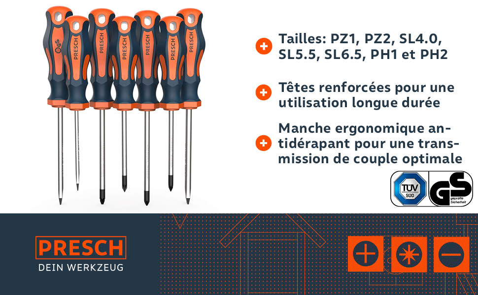 Diverses Tailles OX Pro Magnétique Tipped Phillips Soft Grip Tournevis