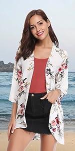 94f58fe4b9 Gilet Kimono Femme Veste Cardigan Fleur Fluide Léger Plage Imprimé Casual  Ourlet · Chemisier Femme Chic Tunique Haut Femme Dentelle Manches Longues  Tops ...