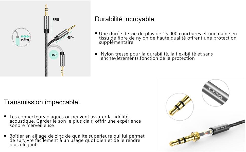 Victeck Câble Audio Splitter stéréo Double Jack avec Prise Jack 3,5 mm mâle vers 2 Prises Jack 3