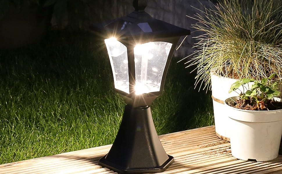 eclairage de jardin solaire Borne Lumineuse Solaire Extérieure - Éclairage de Jardin Waterproof 6 LED  Blanc Chaud - 42cm