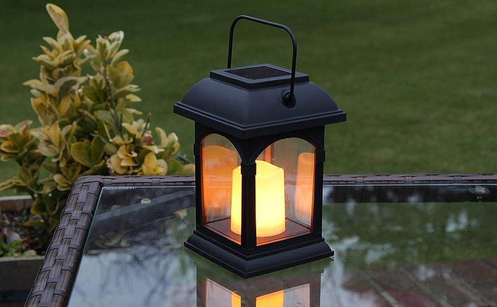 Lanterne Solaire et Bougie LED Effet Vacillant 15cm (Pile ...