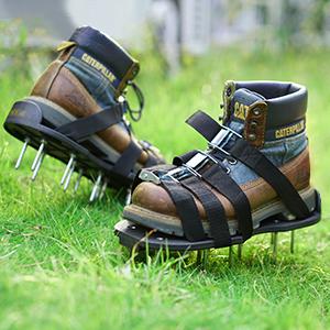 Tacklife Chaussures De Gazonaérateur De Gazon 8 Sangles Réglables Et Boucles Dalliage De Zinc Résistantes 13 X 55 Cm Clous En Acier Taille
