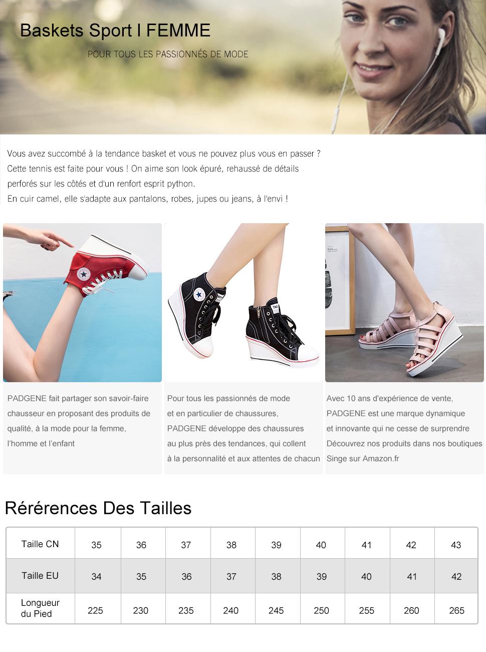 PADGENE Baskets Mode Compensées Montante Sneakers Tennis Chaussures Casuel Toile Femme