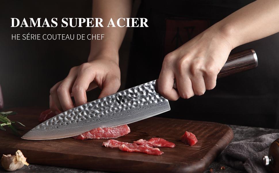 Acier de Damas Série He classique 20.1cm Couteau de chef