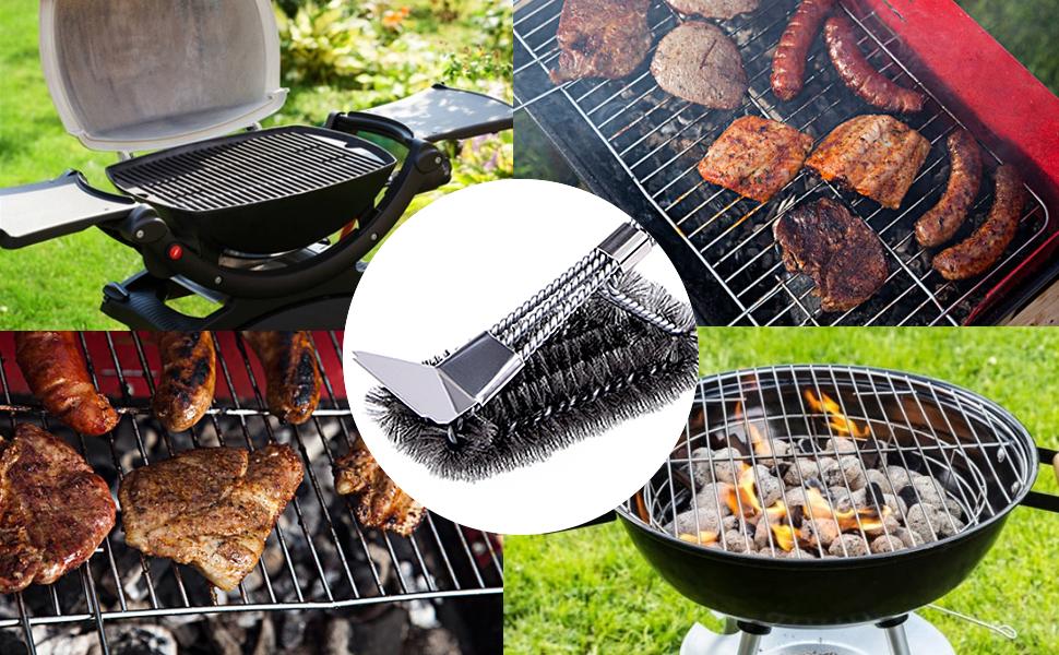 Invero/® BBQ Barbecue Grille de Four de Cuisine Fil m/étallique Brosse de Nettoyage Scraper Remover Cleaner