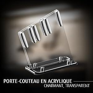 Porte-couteau en acrylique : charmant, transparent
