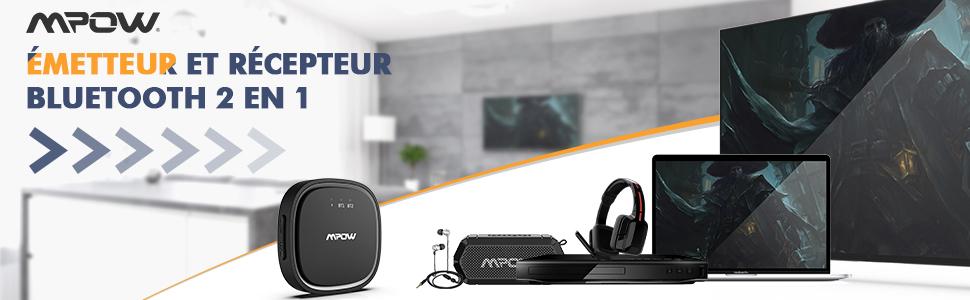 Transmetteur Bluetooth 5.0 Mpow Emetteur et Récepteur 2 en 1 Adaptateur Bluetooth Audio sans Fil aptX LL et aptX HD Portée de 15m Double Liaison Audio