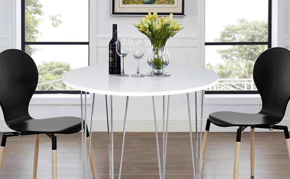 Table A Manger Ronde Blanche.Asuuny Table De Cuisine Ronde Pieds En Epingle A Cheveux Pour Salle A Manger Blanc