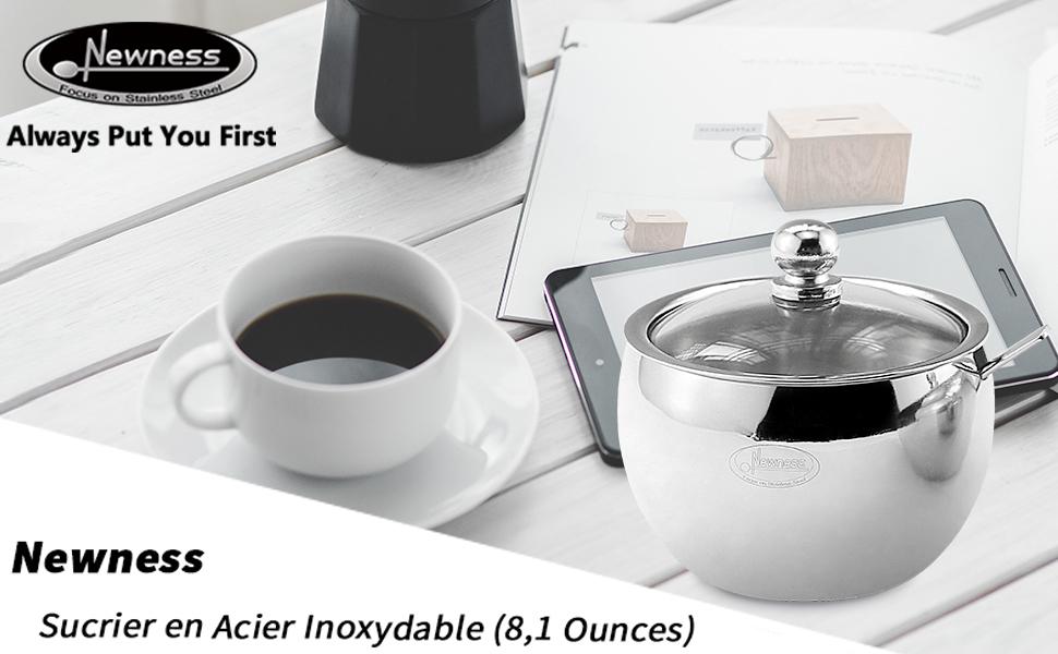 Bol /à Sucre Facile /à Nettoyer Forme De Cylindre Sucriers Pot /à Sucre en Acier Inoxydable avec Couvercle Transparent pour Une Meilleure Reconnaissance Durable pour La Maison Et La Cuisine