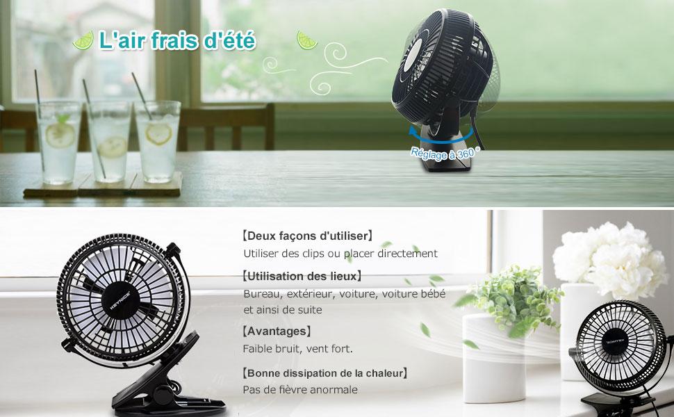 Keynice mini ventilateur charge usb ventilateur avec clip