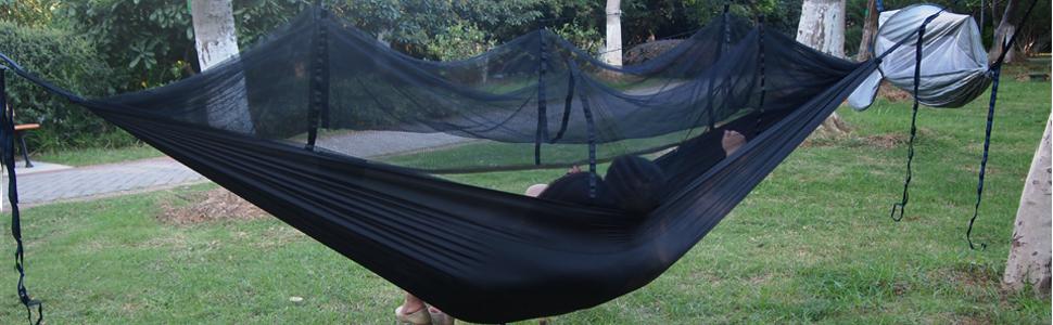 YanYun Camping Hamac 2 Personnes avec Moustiquaire Gammock Portable L/éGer et /éTanche pour Une Randonn/éE en Plein Air Backyard