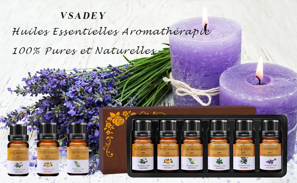 VSADEY Huiles Essentielles Aromathérapie pour Diffuseurs 100% Pures et Naturelle