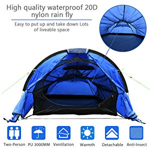 JooGoo Outdoor Tente 2 Personnes Ultra L/ég/ère Camping Camping Tente Automatique /à Double Couche Anti-temp/ête /épaississement