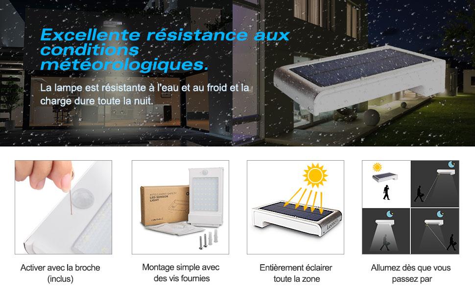 Leeron 49 LED Lampe Solaire Detecteur de Mouvement Eclairage ...