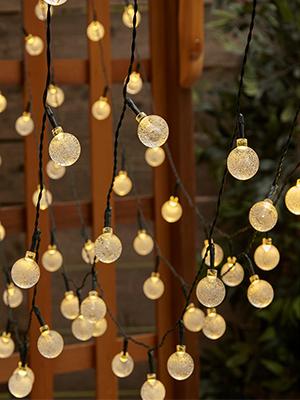 Babacom Guirlande Lumineuse Guirlande Guinguette Inter-Connectable avec 8 Modes d/Éclairage pour Chambre Jardin Patio Rideau Mariage F/ête No/ël 30 LED 6,5M Guirlande Sapin /à Boules de Cristal