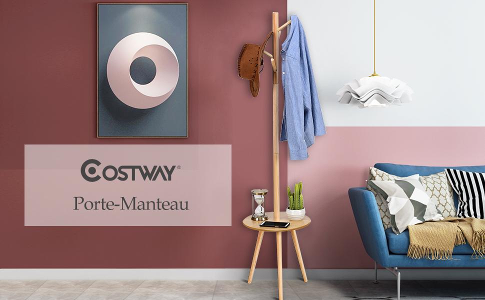COSTWAY Porte-Manteau en Bois avec 4 Crochets Portemanteaux avec Table pour Ranger Vestes Manteaux Chapeaux Style Nordique Couleur Naturel 40 * 40 * 161.5cm Mod/èle 3